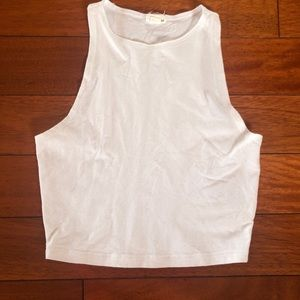 Cropped White Tank Top with High Neckline